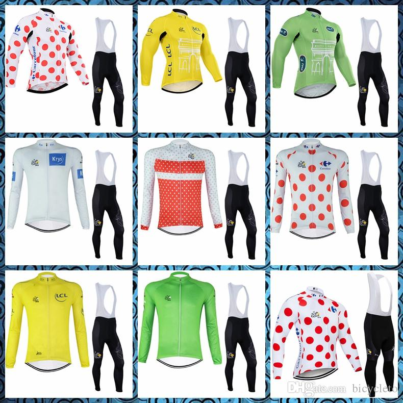 Pro team TOUR DE FRANCE Cycling long Sleeves jersey bib Breathable pants sets Factory direct sales 52317