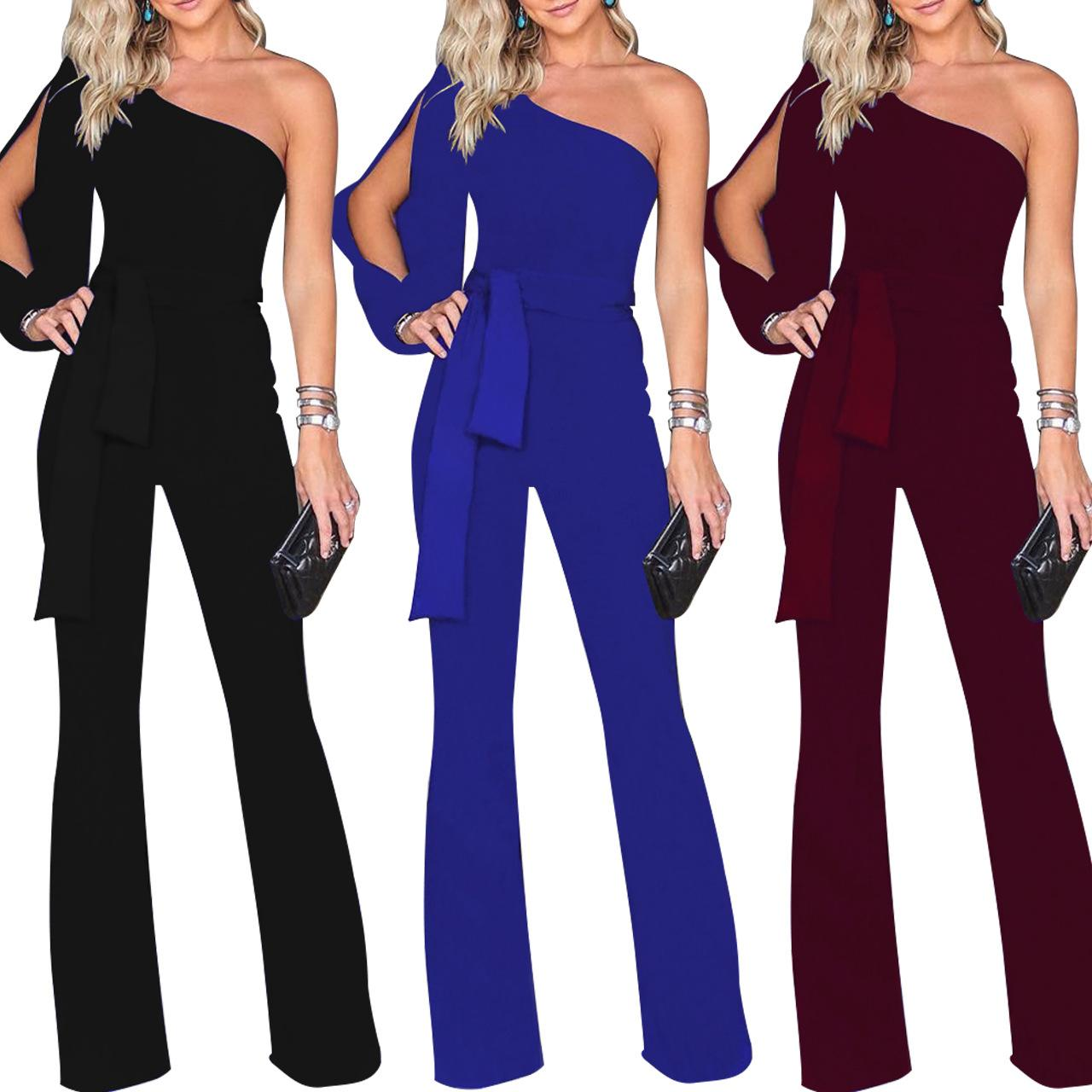 bde12c5f901 2019 European Fashion Sexy Rompers Women Jumpsuit One Shoulder Solid ...