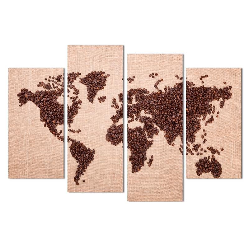 Time-limited Hot Sale Unframed Free Shipping Art Deco Wall Pictures 4 Panels Canvas Coffee Beans World Map Home Decor Modern