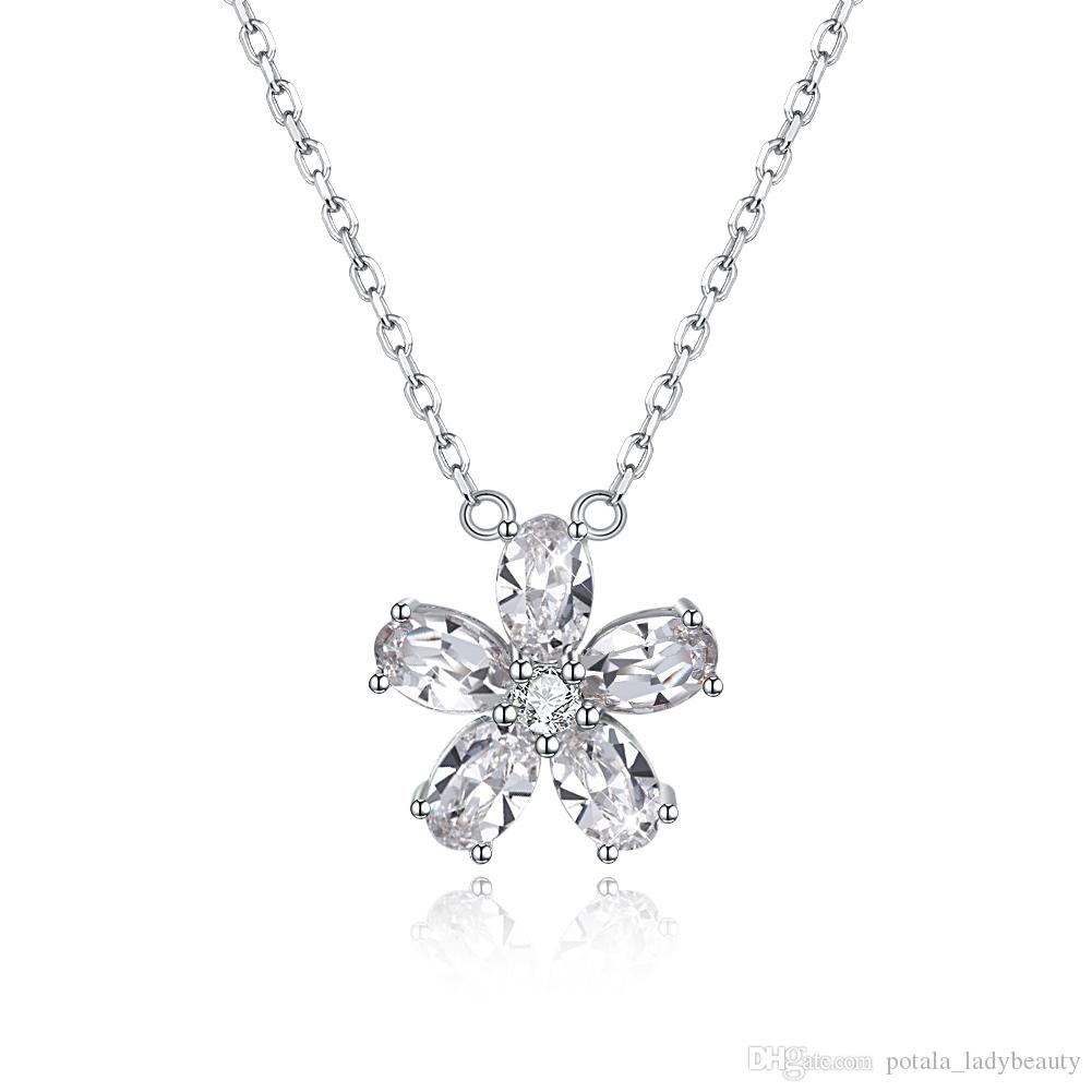 50a434aa51395 Small Fresh Necklaces From Swarovski Elements S925 Sterling Silver Crystal  Petal Pendant Necklace Classic Girls Anniversary Gifts POTALA301