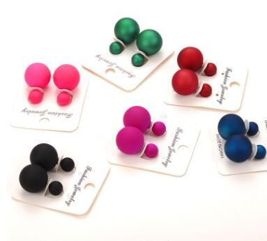 Candy Colors 16MM Big Frosted Matte Balls Double Side Simulated Pearl Earrings Jewelry Fashion Stud Earrings for Women