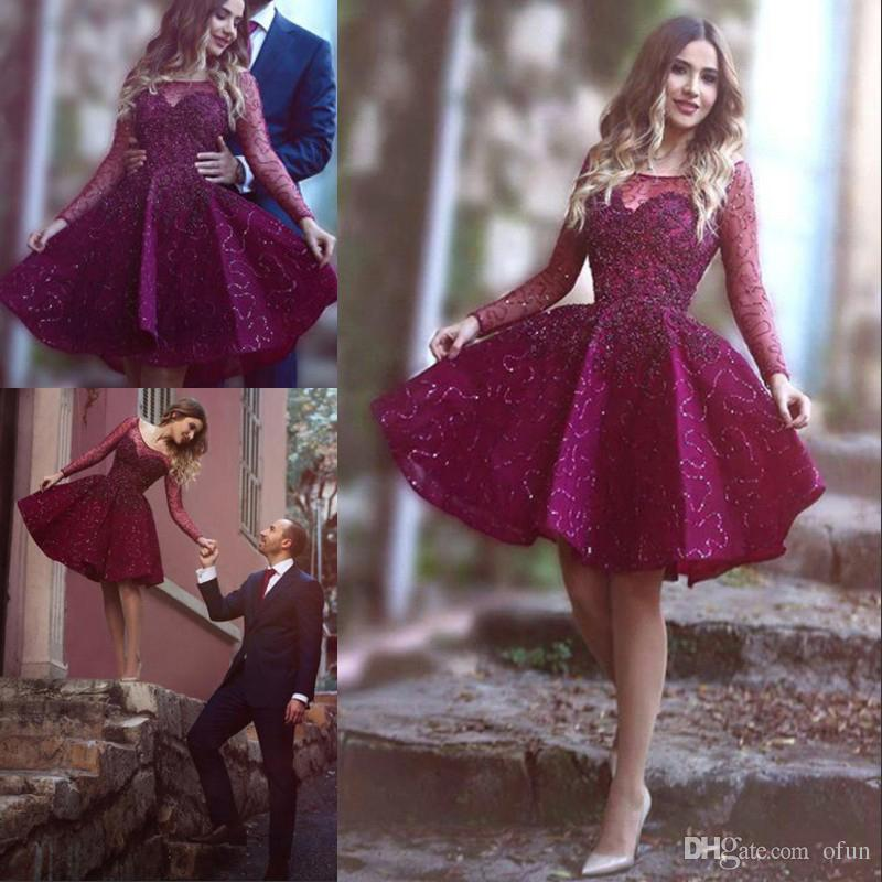 Elegant Grape Scoop Neck Long Sleeve Homecoming Dress Charming Beading Short Mini Cocktail Party Dress Sequined Prom Dresses