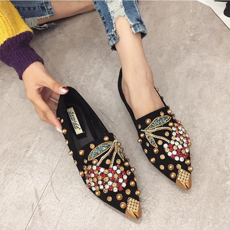 SWYIYV Woman Flats Loafers Shoes 2019 New Rhinestone Loafers Casual Shoes For Woman Pointed Toe Flats
