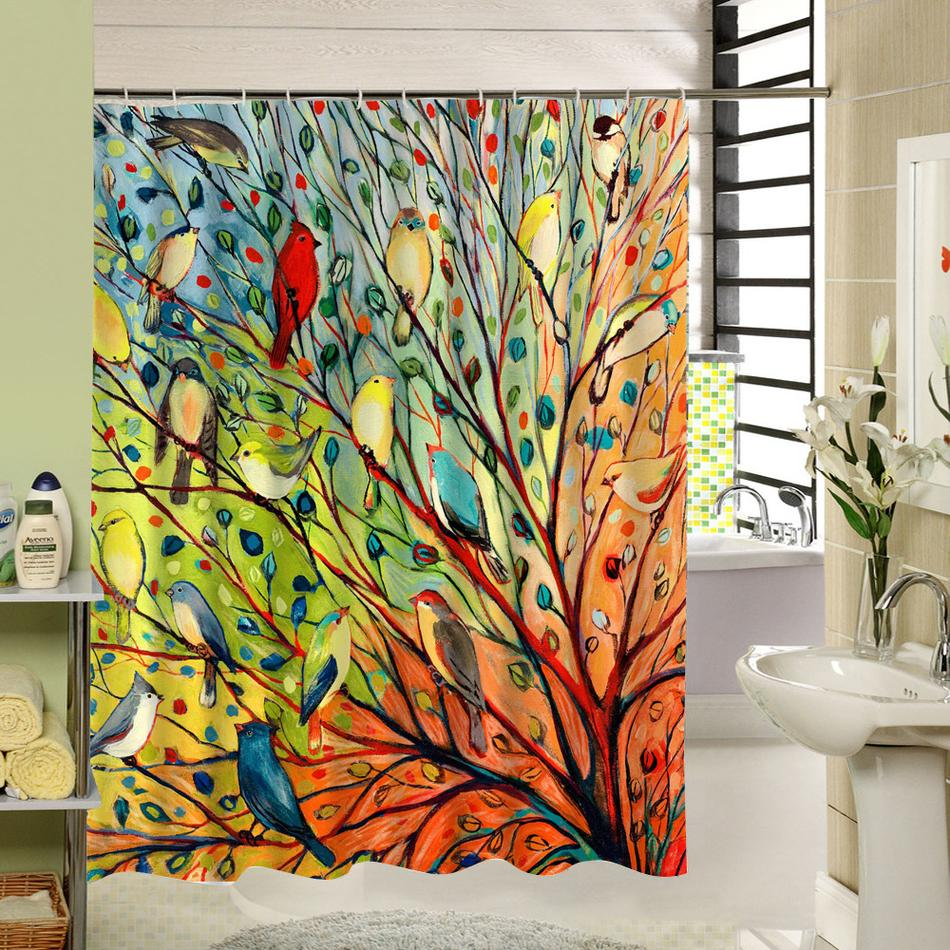 2018 Abstract Tree And Birds Shower Curtain Fabric Colorful Polyester Printing Bath Window For Bathroom Decor C18112201 From Mingjing03