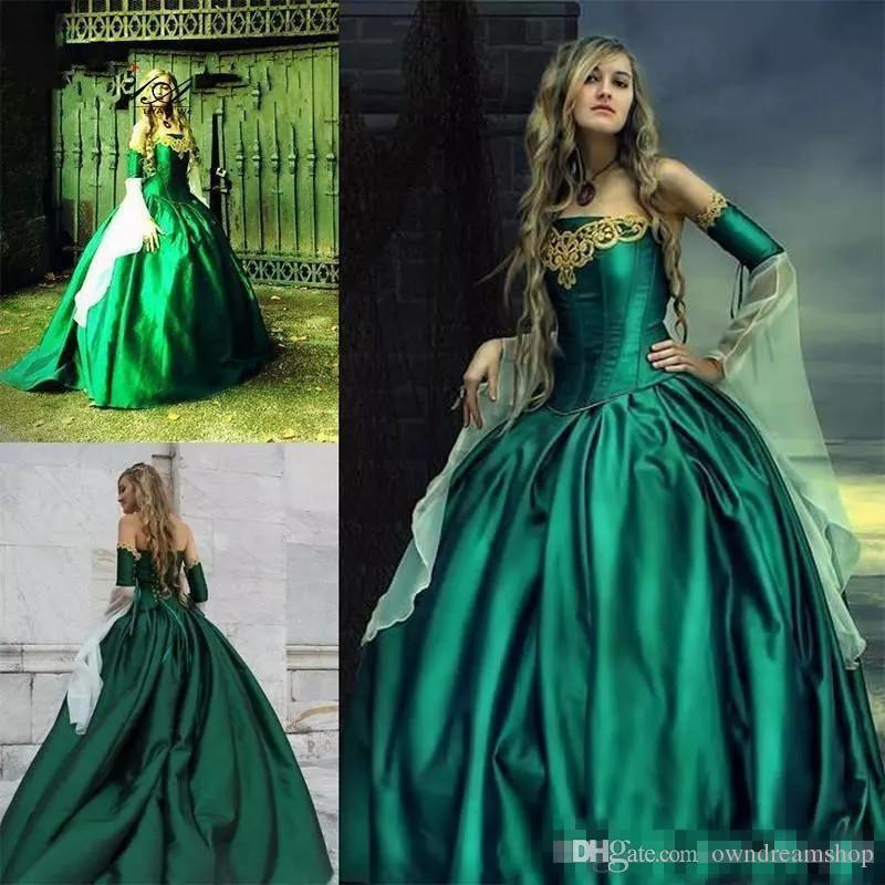 077ab08bd59 Discount 2018 Gorgeous Hunt Green Gothic Wedding Dresses Halloween  Victorian Bridal Gowns Long Sleeves Floor Length Corset Back Satin  Embroidery Line ...
