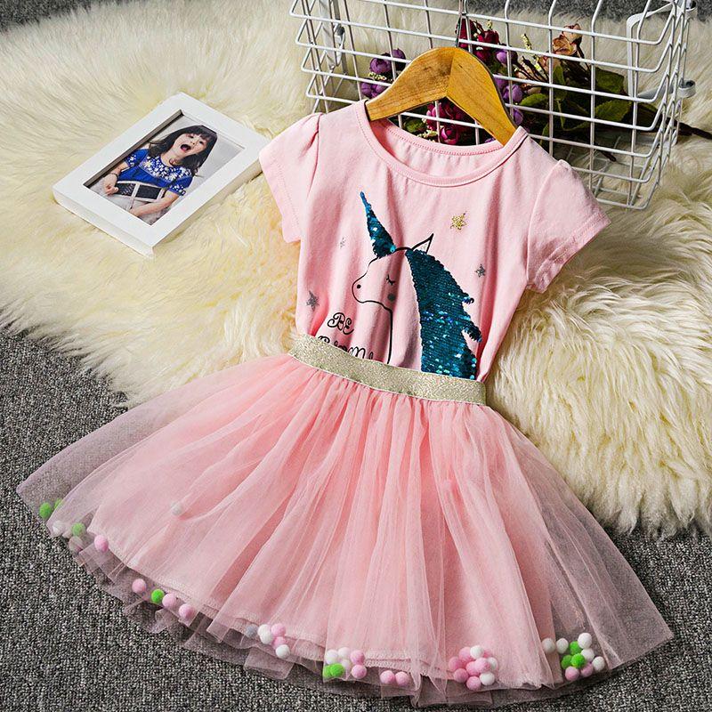 d4670d6926ed7e Meninas lantejoulas unicórnio vestido crianças saia camisa tutu arco-íris  vestidos de presente de aniversário bebê roupas dos desenhos animados ...