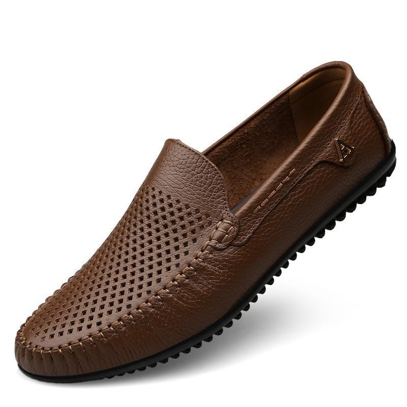 a58ff1e9 Compre Zapatos Casuales De Hombre Mocasines De Cuero De Alta Calidad  Resbalón Cómodo En Zapatos De Hombre Conducción Plana Tallas Grandes Marrón  Negro ...