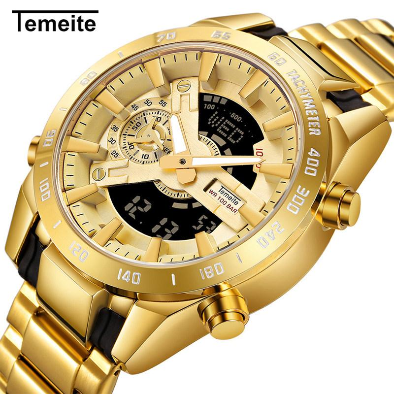 TEMEITE Dual Time Quartz Mens Watches Top Brand Luxury Golden Digital Clock 2 Time Zone Date Week Display Full Steel Wrist Watch