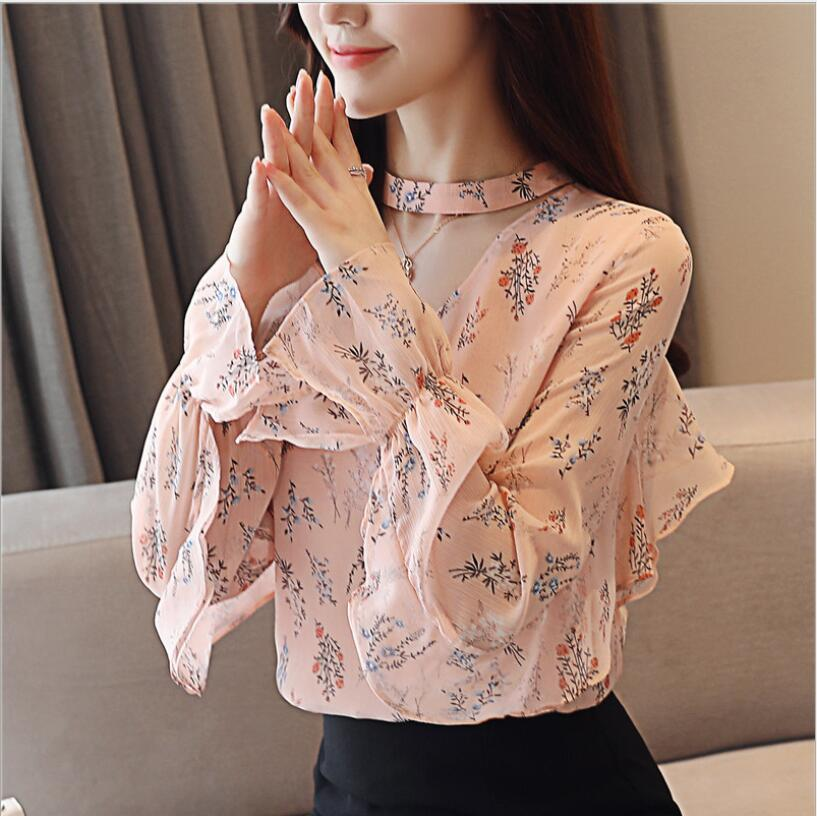 014391bd50297f 2019 Elegant Women Blouses Tops New Long Sleeve Lap TopFloral Blouse Flare  Sleeve Fashion V Neck Sweet Kawaii Chiffon Shirt Women From Roberr, ...