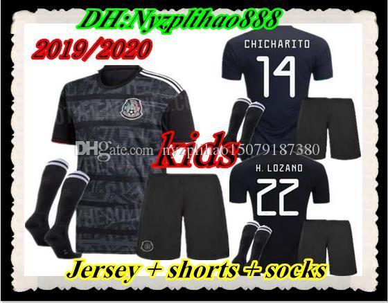 40901796c37 2019 Best Kids Kits 2019 2020 Mexico Soccer Jersey Home Black 19 20  CHICHARITO H. LOZANO Youth Child Football Jerseys Set Shirts From  Nyzplihao15079187380