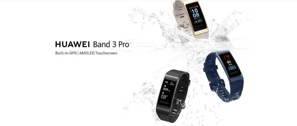 Huawei Band 3 Pro GPS Smart Band Metal Amoled 0.95' Full Color Touchscreen Swim Stroke Heart Rate Sensor Sleep Bracelet