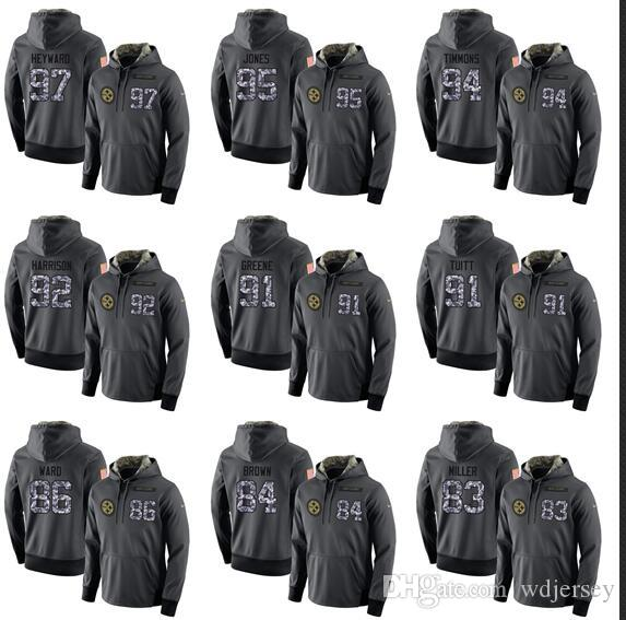 purchase cheap 96b81 2b614 Men Pittsburgh steelers grey admiral version Therma Performance Pullover  Hoodie
