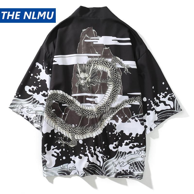 d0622a998 2019 Japanese Dragon Printed Kimono Shirts Men Harajuku Cardigan ...