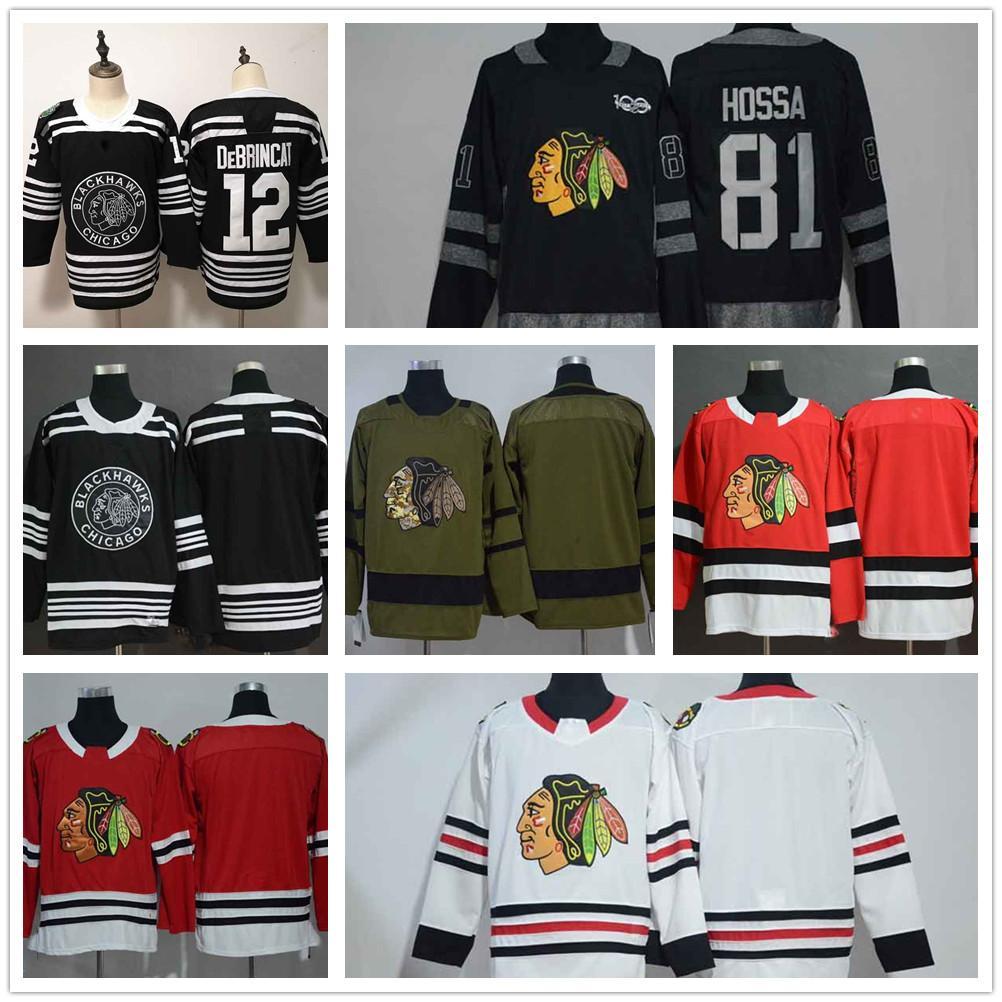 cd76f8902 2019 Chicago Blackhawks 12 Alex DeBrincat 2019 Winter Classic 81 Marian  Hossa Black 1917 2017 100th Anniversary Blank Red White Hockey Jersey From  ...