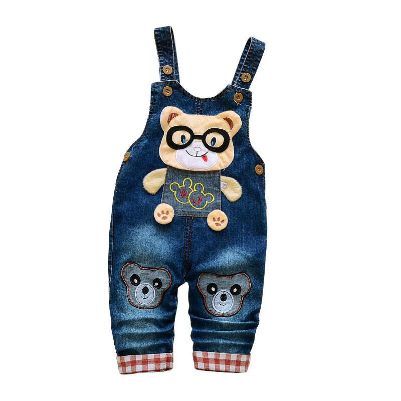 good quality Baby Pants Spring Autumn Kids Boys Girls Overalls Pants Children Boys Jeans Bib Pants Cartoon Denim Jumpsuit Trousers