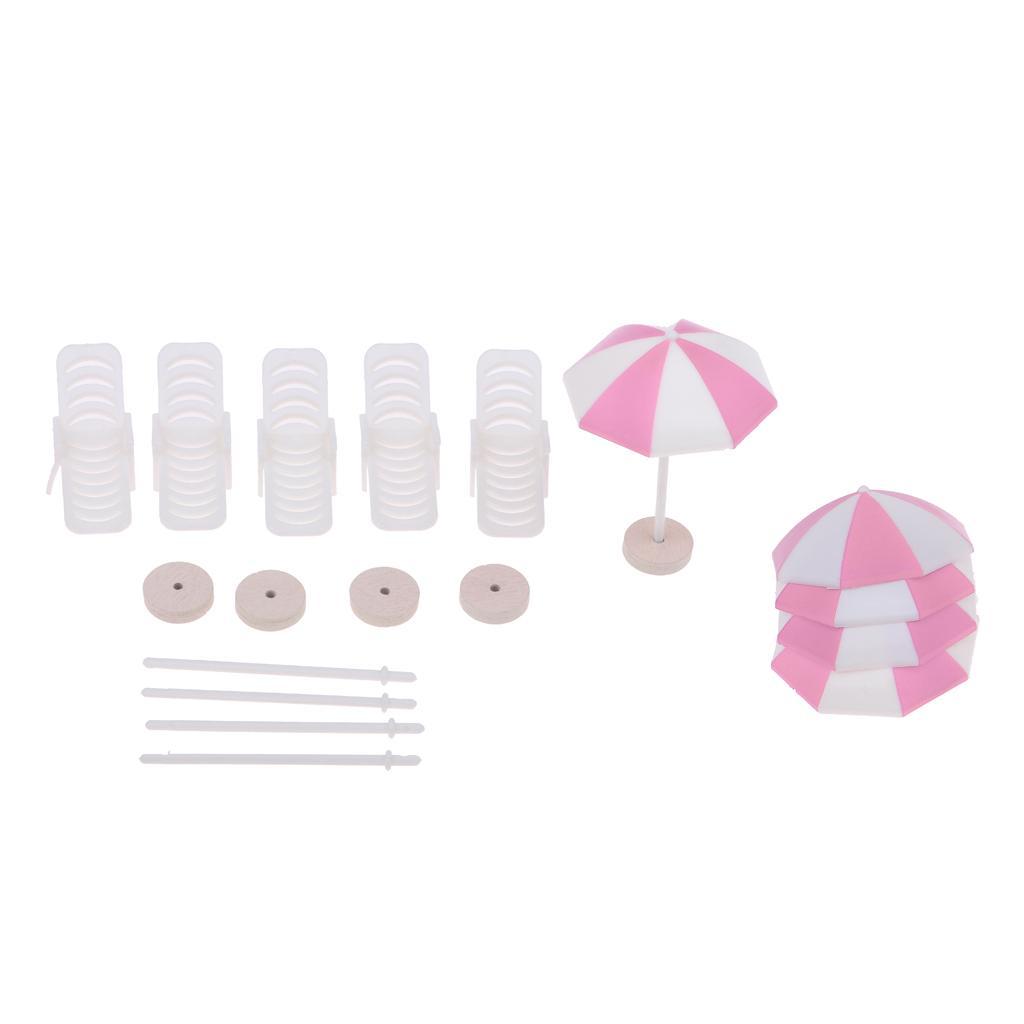 De Dollhouse Scènes Plage Jouet Décoration Décor Maison Pour Chaise Set Poupée 5 Longue Miniature Parapluie Colorées rxodBeCW