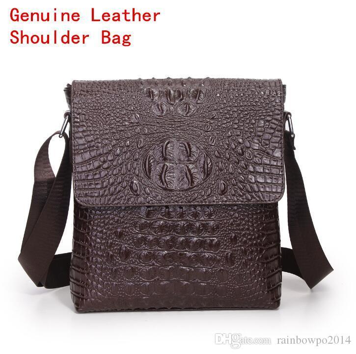 f4605f353786 Factory selling brand male bag classic crocodile pattern embossed leather  shoulder bag business first layer cowhide Men Fashion Shoulder Bag