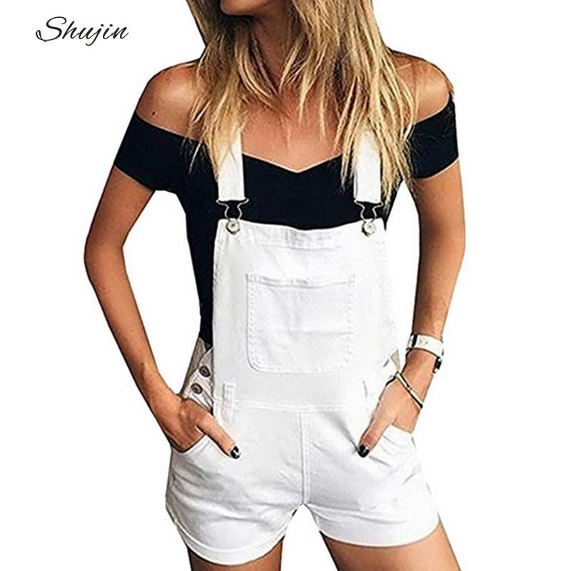 0ffd126c0255 2019 SHUJIN Girls Denim Overalls Women Lovely Short Jumpsuits 2019 Summer  Fashion Jeans Overalls Shorts White Pocket Playsuits From Cravat