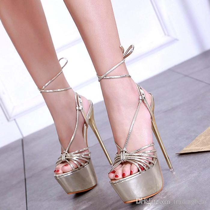 fdb986217b86 16cm Elegant Gold Ankle Wrap Platform High Heels Luxury Women Designer Shoes  Size 35 To 40 Penny Loafers Wedges Shoes From Tradingbear
