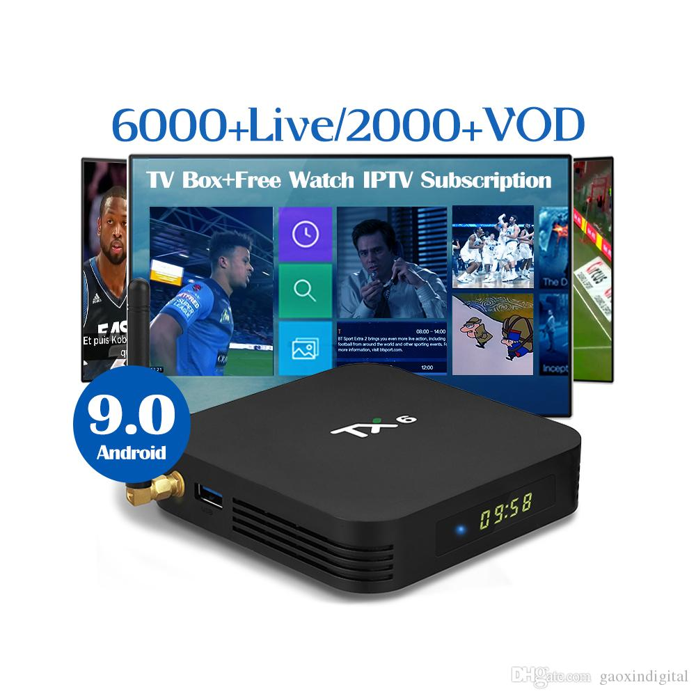 iptv service Android 9 0 TX6 iptv box 4G/64G free iptv subscription  Portugal French Arabic UK German USA Canada India Netherlands Adult