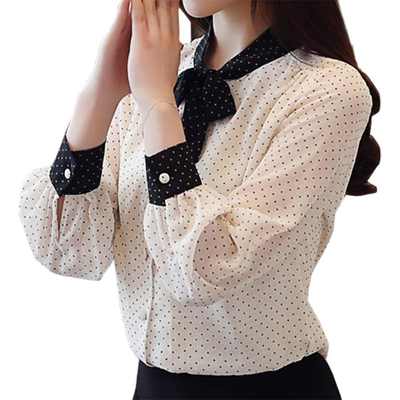 1d15490eb7aab5 2019 2019 New Arrival Women Tops Casual Bow V Neck Long Sleeves Blouses  Spring Summer Chiffon Polka Dots Shirt Women S Blouses White From Edward03