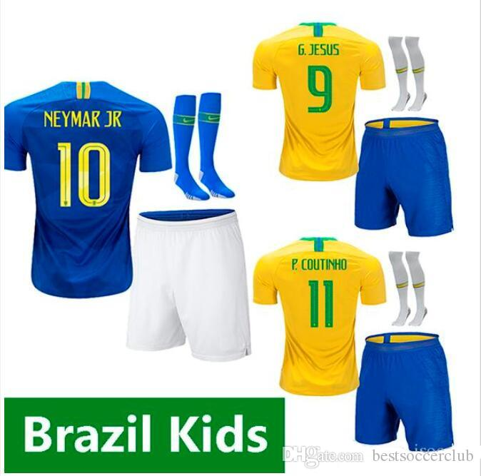 e2b228fb7 2019 2018 2019 FIRMINO World Cup Kids Soccer Jersey G.JESUS P.COUTINHO  MARCELO 18 19 Kit FRED PELE Football Shirt Home Away Children Uniforms From  ...