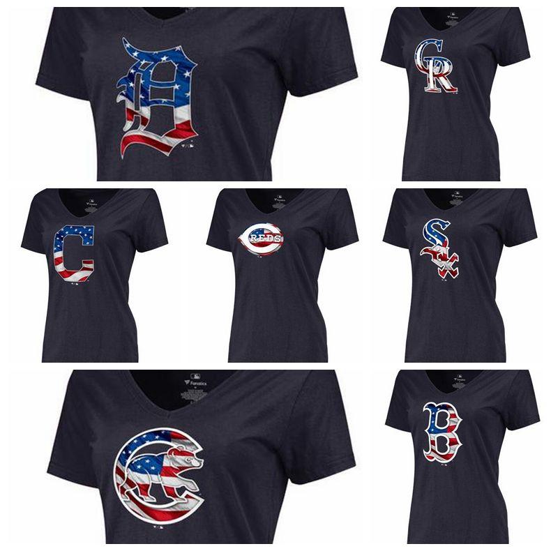buy online 847a3 8b7ed Women's Detroit Tigers Colorado Rockies Cleveland Indians Cincinnati Reds  Chicago White Sox Chicago Cubs Navy Banner Wave Slim Fit T-Shirt