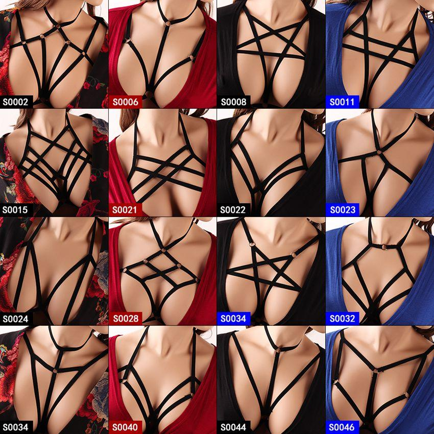 27772b1697 2019 Strappy Pentagram Harness Bra For Women Sexy Crop Top Body Cage  Bralette Punk Goth Fetish Bondage Plus Size Festival Rave Garter From  Yyliang