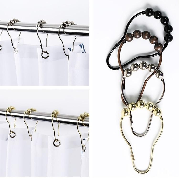2019 New Shower Curtain Rings Hooks Metal Bathroom Clip Easy Glide Polished I507 From Tinalt 222