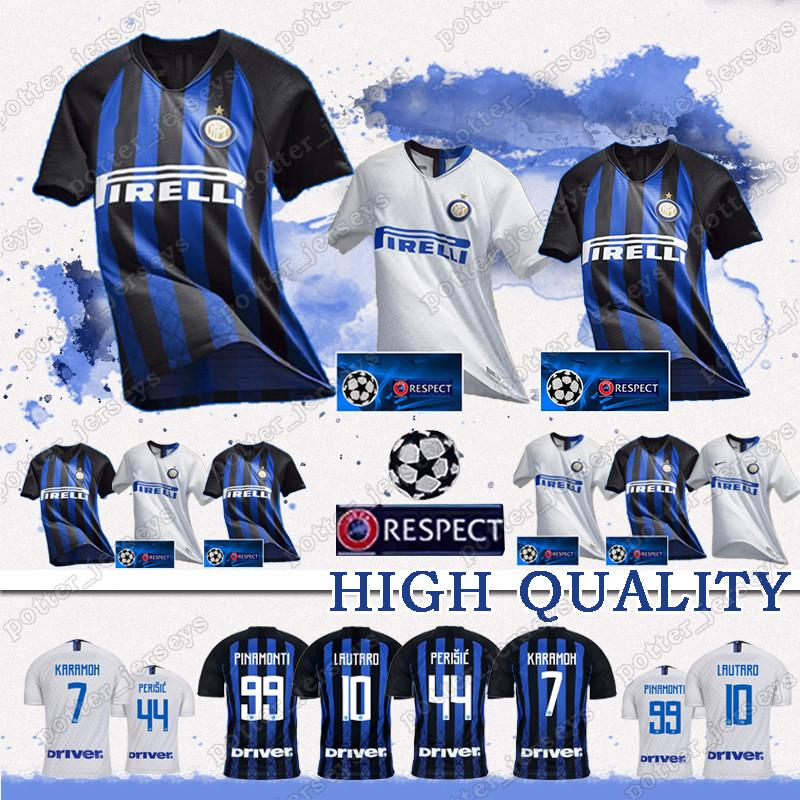 3cda3ee61 Compre Vendas Baratas 18 19 Inter Milan Camisa De Futebol ICARDI PERISIC  NAINGGOLAN LAUTARO POLITANO Camisa De Futebol Maillot De Pé Terceiro  Uniformes De ...