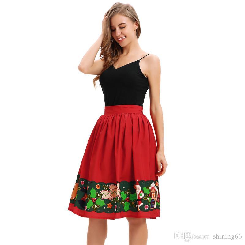 Women Girl Elegant Skirt New Fashion Santa Claus Midiskirt Clothing Fashion  Bubble Skirt Girl Ladies Female