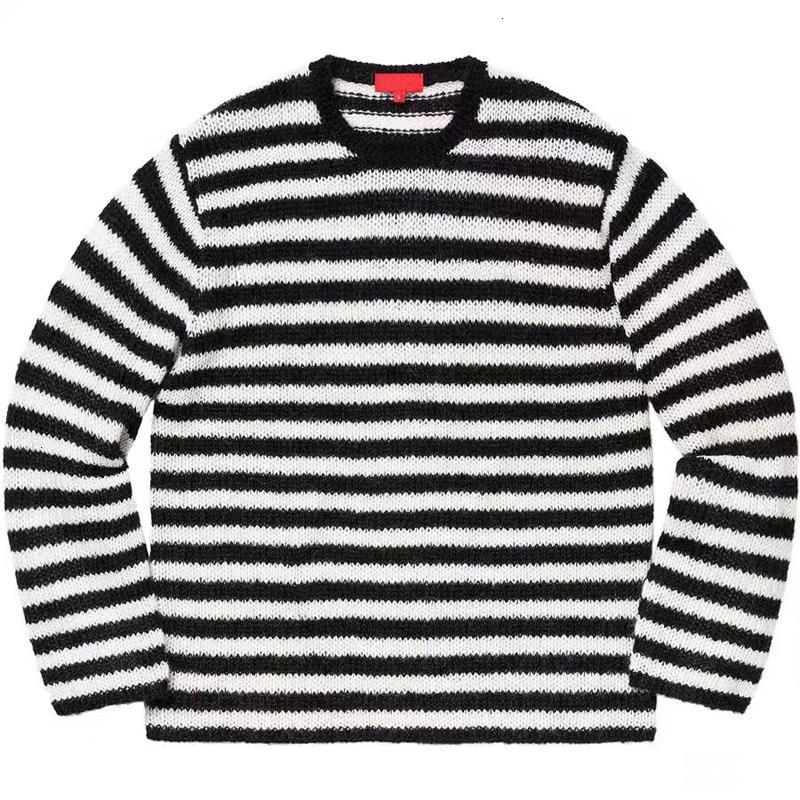 19FW BOX LOGO Black White Stripes Color Stripes Crewneck Sweaters Hip Hop Skateboard Sweaters Men Women Couple Casual Street HFHLMY003