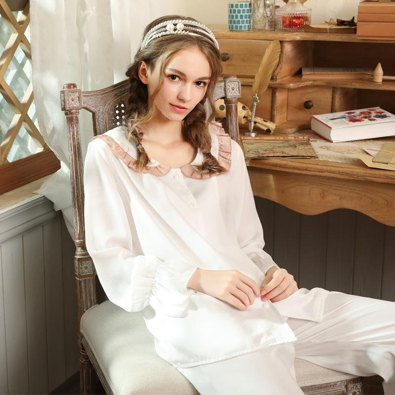 2019 Autumn Silk Princess Pajama Set Japanese style Sleepwear Women Vintage Pajama White Night Wear Home Suit Lounge Set