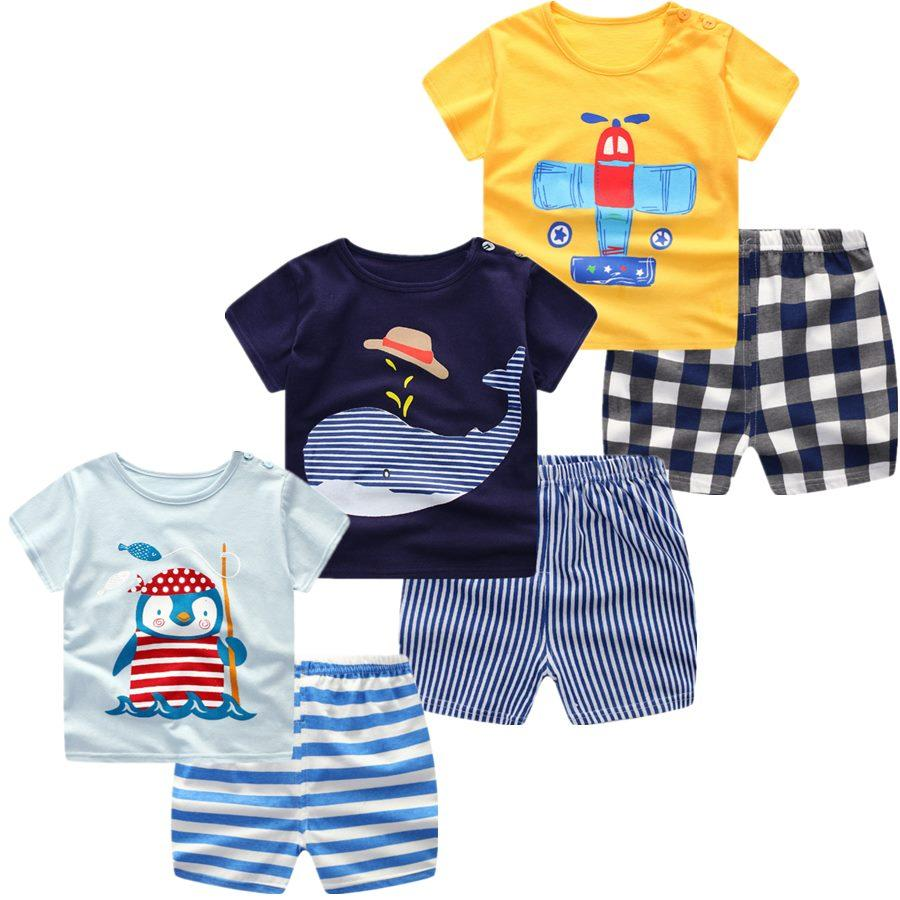 5930660076fee 3pcs/lot 2018 Baby Boys Girls Clothing Set Summer Short Sleeve Cartoon  Cotton Infant Newborn Clothes Suit Outerwear T-shirts