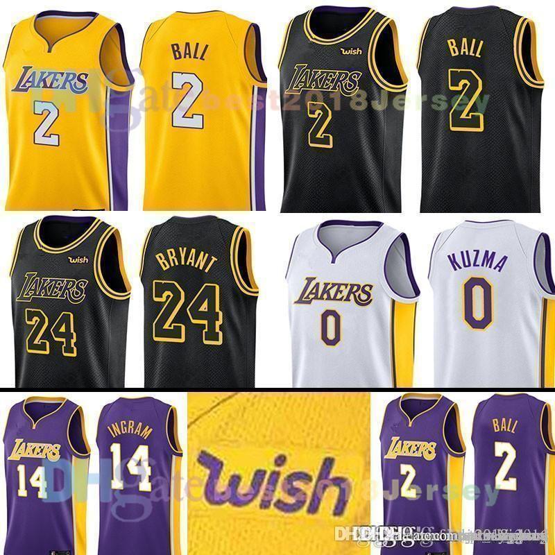 reputable site c19aa 1b851 2018 MENS Los Angeles Lonzo 2 Ball Kyle 0 Kuzma Lakers JERSEY Brandon 14  Ingram Kobe 24 Bryant 8 THE CITY Basketball Jerseys SIZE S-XXL