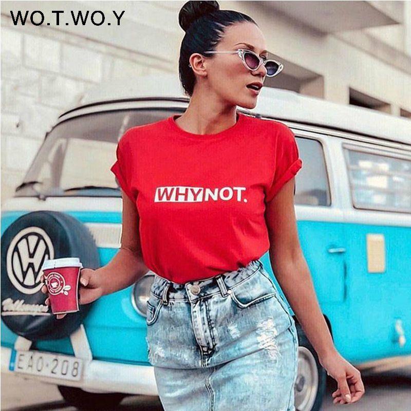 1578ba5206c WOTWOY Funny Letters T Shirt Women Cotton Summer Printed T-Shirt ...