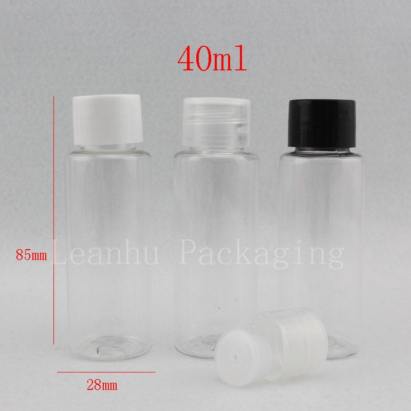 40ml X 50 clear empty lotion plastic cosmetic bottles with lid,transparent PET bottles for cosmetic packaging, travel size pot