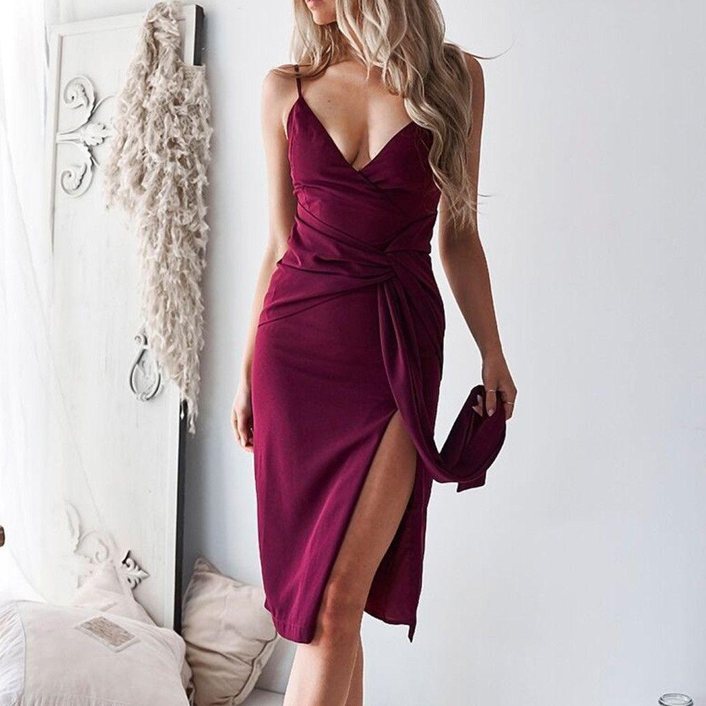 f422285bef Compre Vestido De Renda Das Mulheres Arco Profundo Com Decote Em V Fina Alça  De Ombro Cor Sólida Midi Elegante Dress Moda Verão 2019 De Camelane, ...