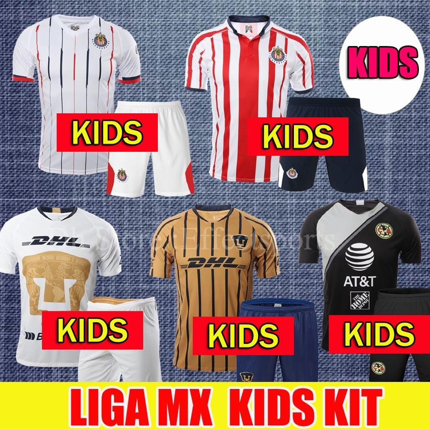 f7e01bacfc Acquista 2018/2019 MEXICO CLUB LIGA MX Kit Bambini CHIVAS Guadalajara Club  America UNAM Pullover Di Calcio Bambino Youth Boys 18/19 Maglie Di Calcio A  ...
