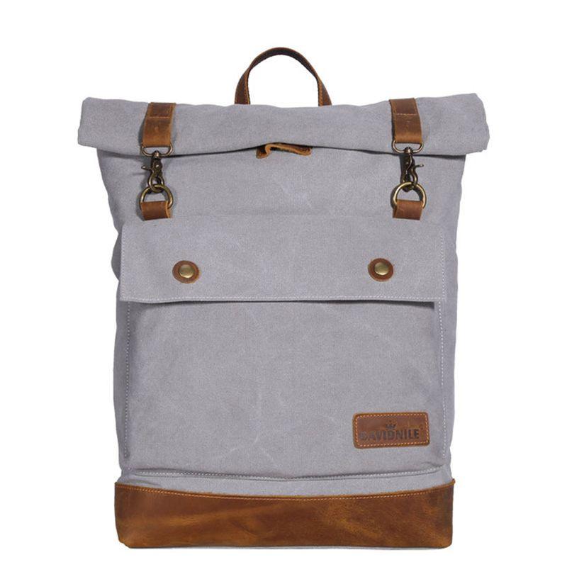 909512d33fe Canvas And Leather Backpack Mens Vintage Large School Bag 14 Laptop ...