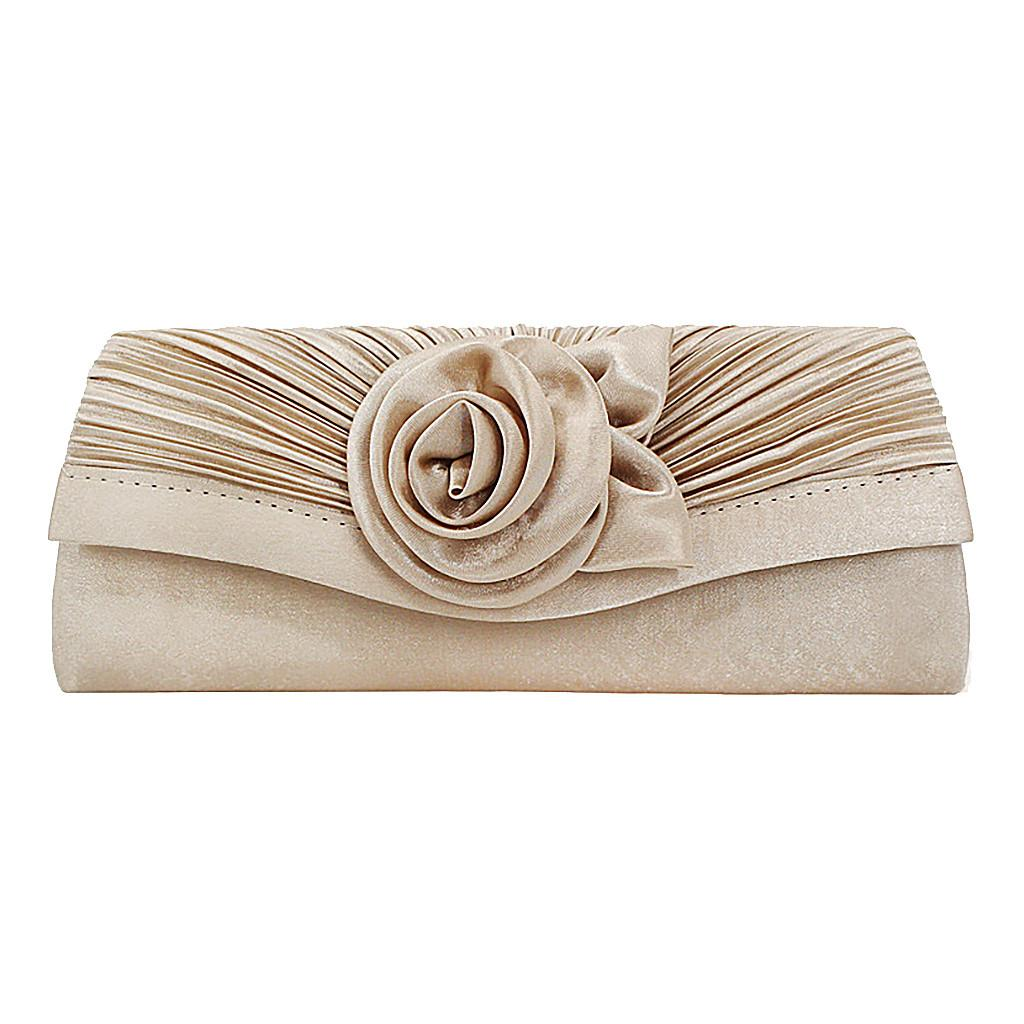 Dinner Bag Slik Rose Flower Clutch Envelope Evening Bag Chain Silk Simulation Women Shoulder Wedding Party Mini Phone Purse