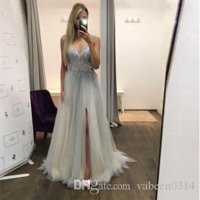 cea0098fadd New Hot European Grey Lace Long Evening Dress Dress   In Stock Explosive  Sexy V Neck Sling Party Dress  Into The Store To Choose More Styles UK 2019  From ...