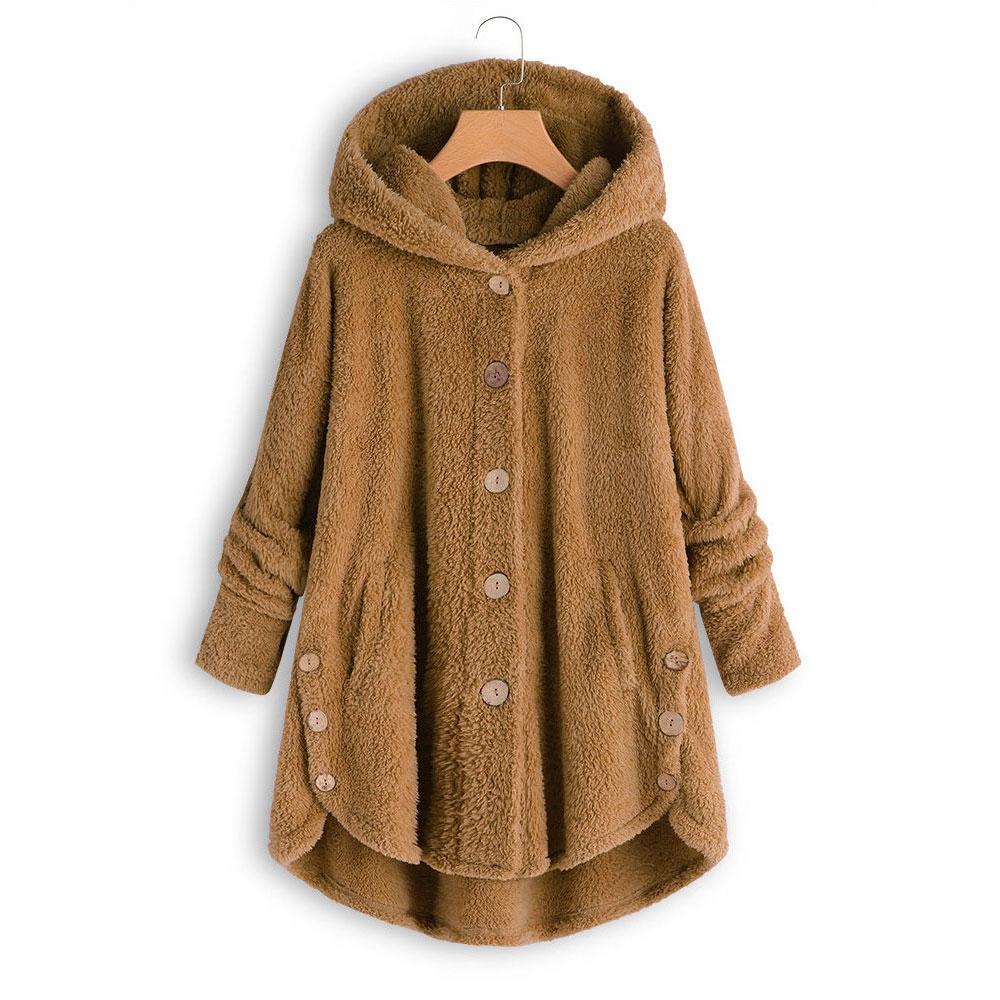 meet daebb a0816 Wisstt Winter Frau Mantel Weibliche Jacke Mode Knopf Mantel Flauschigen  Schwanz Tops Mit Kapuze Lose Pullover Jacken Für Frauen Feminine