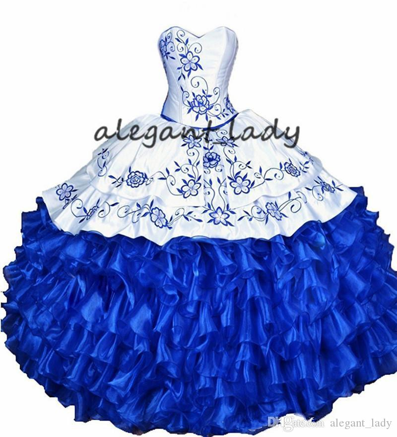 Bianco Royal Blue Ball Gown Quinceanera Abiti in pizzo 2019 Ricamo volant lace-up corsetto Sweet 16 Dress Vestidos De 15 Anos
