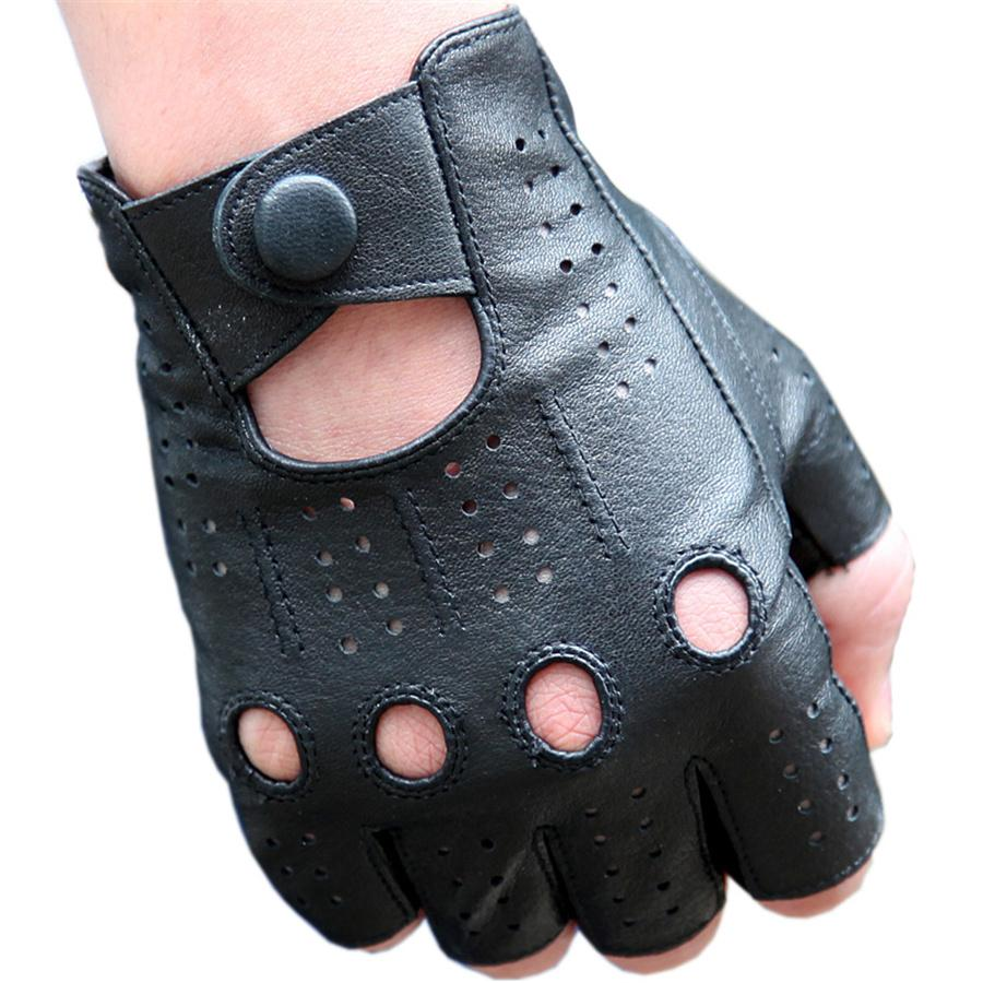 Men'S The Latest High-Quality Semi-Finger Genuine Leather Gloves Thin Section Driving Fingerless Sheepskin Gloves 3-M046P