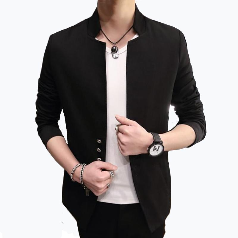Men's blazers spring and autumn solid color Chinese collar slim suit / business casual high quality large size suit jacket