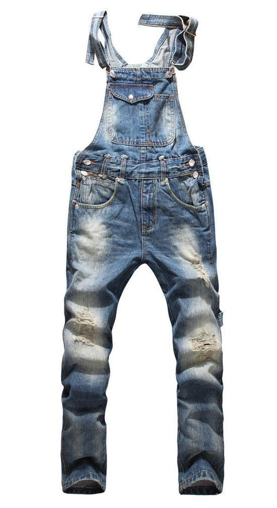 Mens Ripped Denim Overalls Jeans Mens Clothing Casual Distrressed Jumpsuit Jeans Pants For Man Size S-5XL