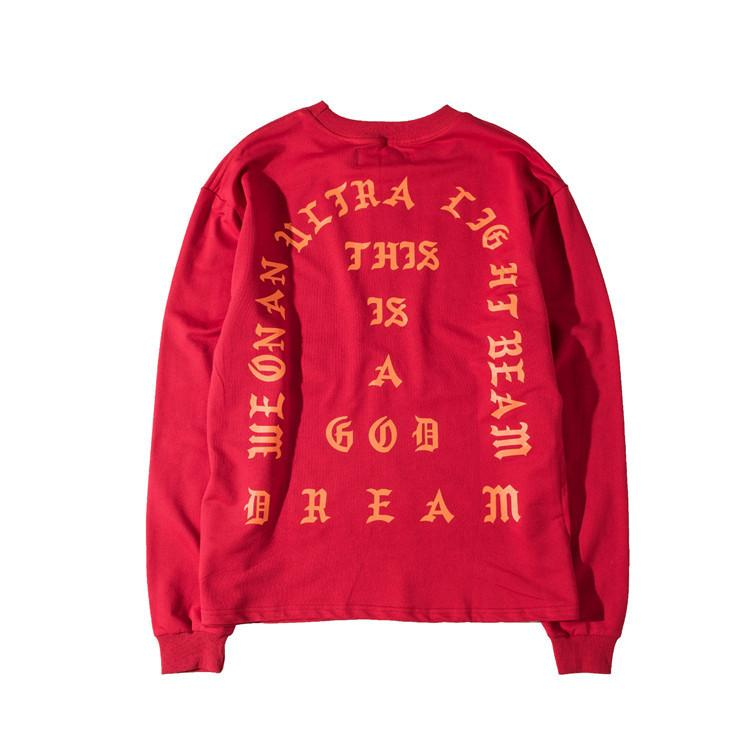 Hot Mens Pullover Clothing Kanye West I Feel Like Pablo Season Red Hip Hop Hoodies Free Shipping Street Style Sweatershirts