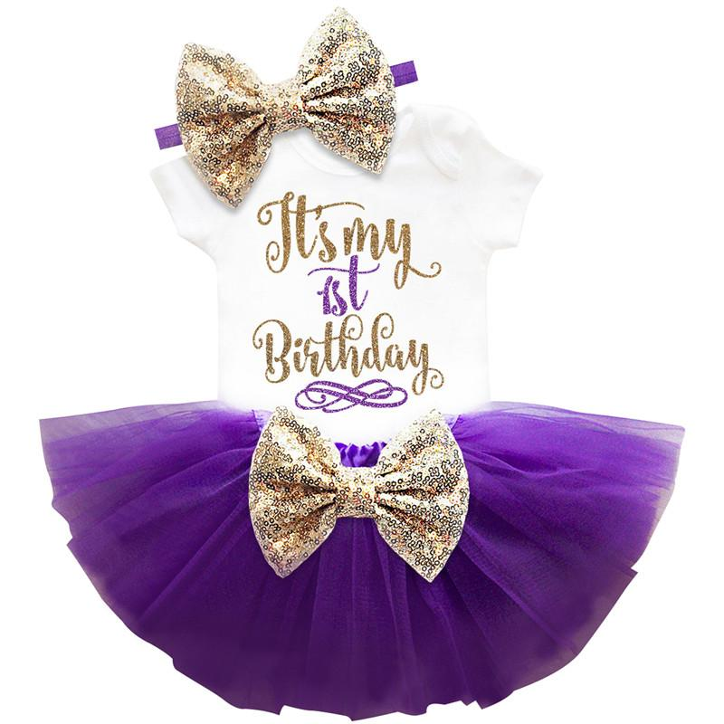 2019 Baby Birthday Sets 6 Months 1 2 Years Toddler Bebes Outfit Infant Christening Suits For Girl Gift Tutu Kids Summer Clothes Y18120303 From