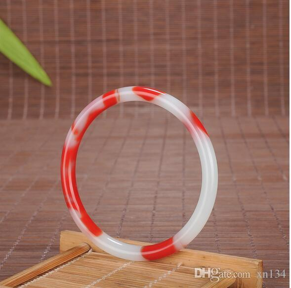 Genuine Natural Color Red white Jade Bangle 54-64mm Bracelet Charm Jewellery Fashion Accessories Hand-Carved Amulet Gifts Women